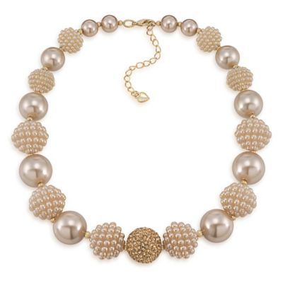 Carolee New York Isabelle Suede Pearl Bold Beaded Collar Necklace
