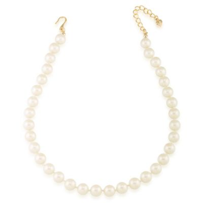 Carolee New York Hope 10mm White Pearl Choker Necklace with Goldtone Clasp