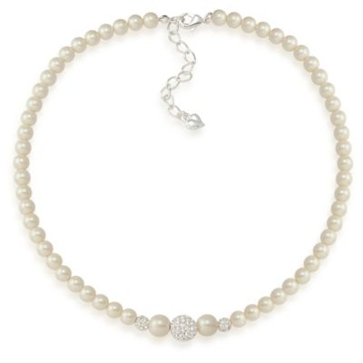 Carolee New York Kathleen White Pearl and Crystal Fireball Necklace