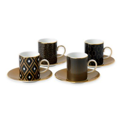 Wedgwood® Arris Accent Espresso Cups and Saucers (Set of 4)
