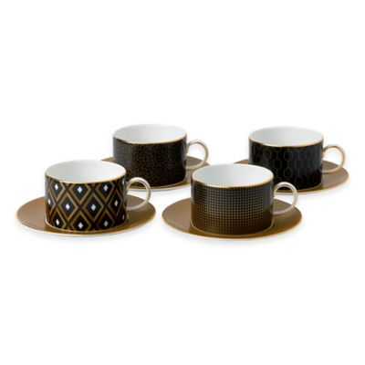 Black Gold Teacups and Saucers