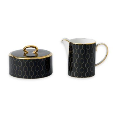 Wedgwood® Arris Accent Covered Sugar Bowl and Creamer