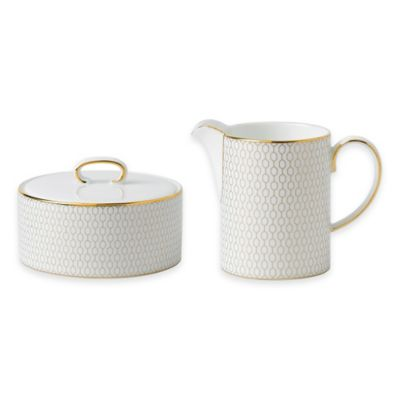 Wedgwood® Arris Covered Sugar Bowl and Creamer