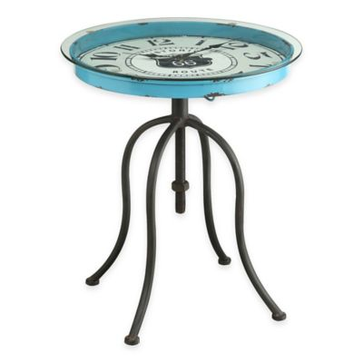 Powell Octagon Clock Table in Blue