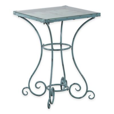 Powell Square Clock Table in Light Blue