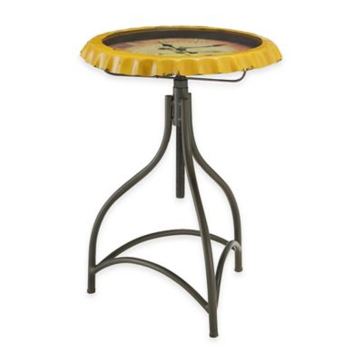 Powell Round Clock Table in Yellow