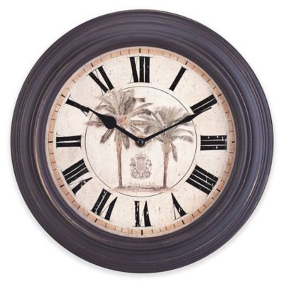 Sterling & Noble Palm Tree Wall Clock in Dark Brown