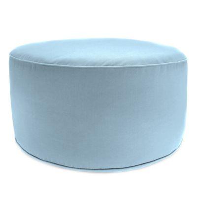 Outdoor Round Pouf Ottoman in Sunbrella® Canvas Air Blue