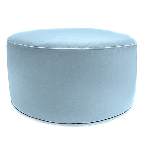 buy outdoor round pouf ottoman in sunbrella canvas air. Black Bedroom Furniture Sets. Home Design Ideas