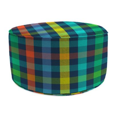 Outdoor Round Pouf Ottoman in Sunbrella® Connect Cosmic