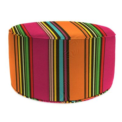 Outdoor Round Pouf Ottoman in Sunbrella® Icon Pop