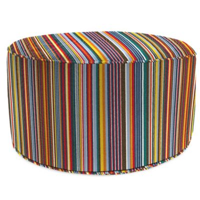 Outdoor Round Pouf Ottoman in Sunbrella® Mode Seaside