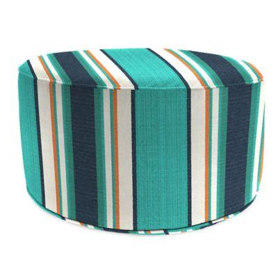 Outdoor Round Pouf Ottoman in Sunbrella® Token Surfside