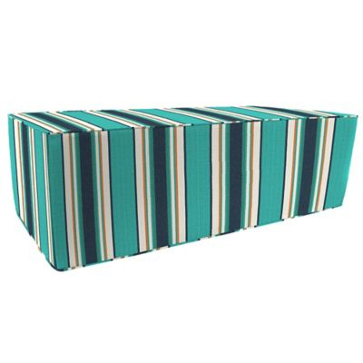 Outdoor Double Pouf Ottoman in Sunbrella® Token Surfside