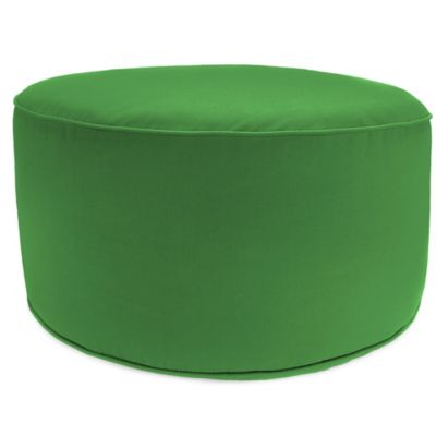 Outdoor Round Pouf Ottoman in Sunbrella® Volt Emerald