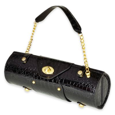 Picnic at Ascot Wine Carrier & Purse in Black Croc