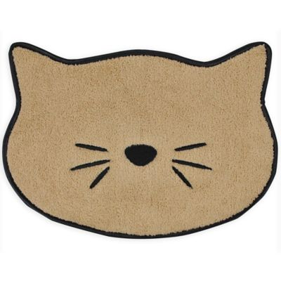 9.75-Inch x 13.5-Inch Embroidered Microfiber Cat Placemat in Beige