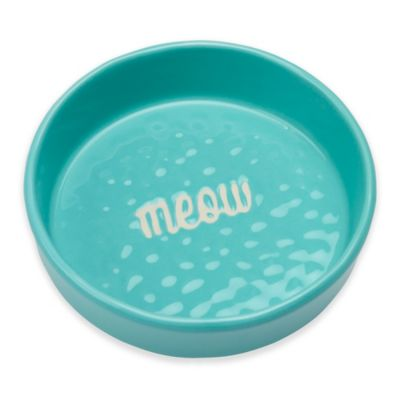 """Etched """"Meow"""" 1.5-Cup Pet Bowl in Aqua"""
