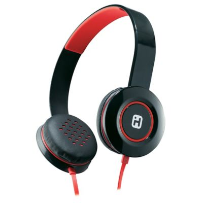 iHome® Stereo Headphones with Flat Cable in Black/Red