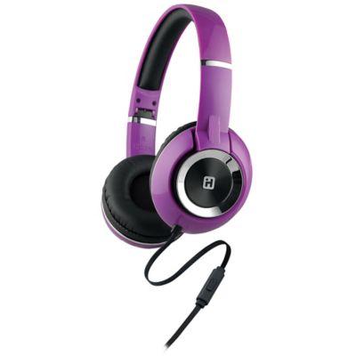 iHome® On-Ear Foldable Headphones in Black/Purple