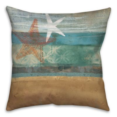 Underwater Sea Starfish 16-Inch Square Throw Pillow in Blue/Beige