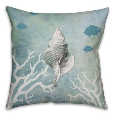 Conch Shell 16-Inch Square Throw Pillow in White/Blue