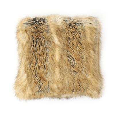 Wild Mannered Luxury Faux-Fur 24-Inch Square Throw Pillow in Amber Fox