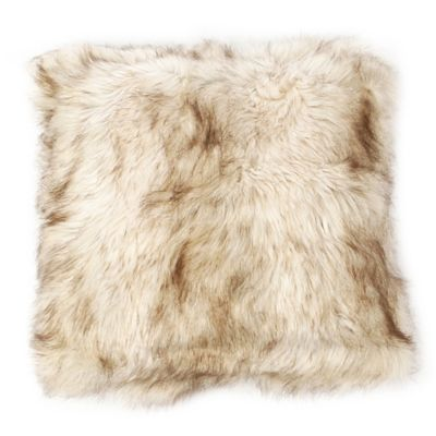 Wild Mannered Faux-Fur 24-Inch Square Throw Pillow in Champagne Fox