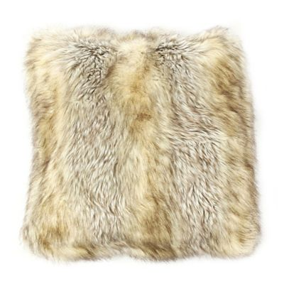 Wild Mannered Faux-Fur 18-Inch Square Throw Pillow in Kitt Fox