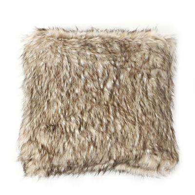Wild Mannered Luxury 24-Inch Long Hair Faux-Fur Square Throw Pillow in Pearl Finn Raccoon
