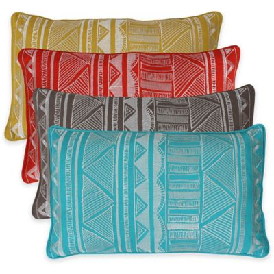 Thro Tracey Embroidered Tribal Sketch Oblong Throw Pillow in Yellow