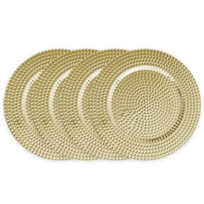 ChargeIt! by Jay Beaded Charger Plates in Gold (Set of 4)