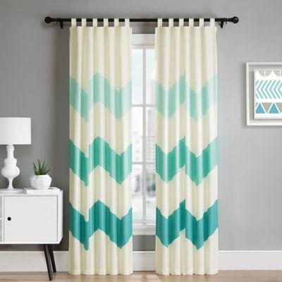 VCNY Kika 84-Inch Tab Top Window Curtain Panel Pair in Ivory/Aqua Blue