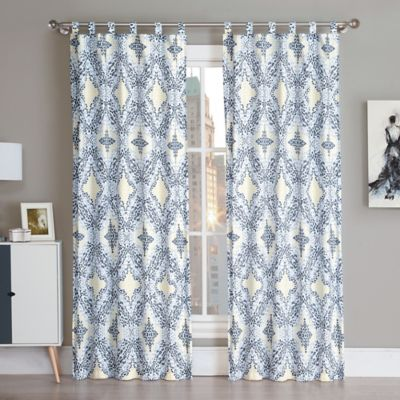 VCNY Connell 84-Inch Tab Top Window Curtain Panel Pair in Yellow/Grey