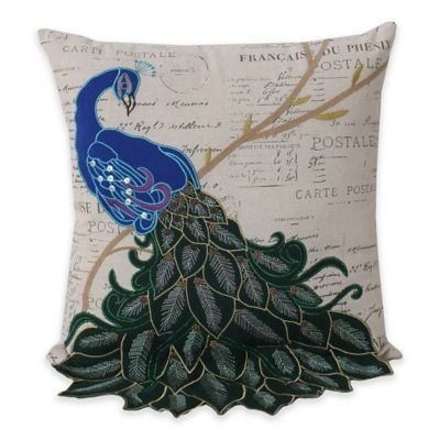 Thro Postcard Print Peacock 16-Inch Square Throw Pillow