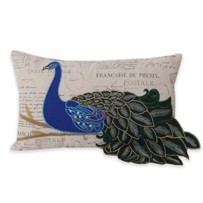 Thro Postcard Print Peacock Oblong Throw Pillow