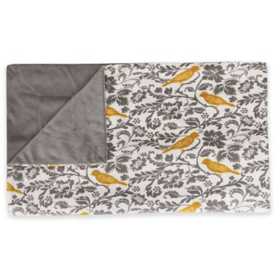 Thro Selma Bird Printed Microplush Throw Blanket in Yellow