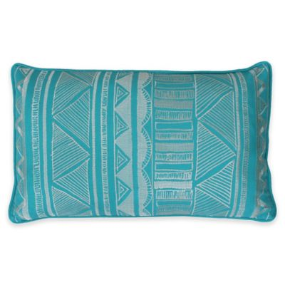 Thro Tracey Embroidered Tribal Sketch Oblong Throw Pillow in Blue