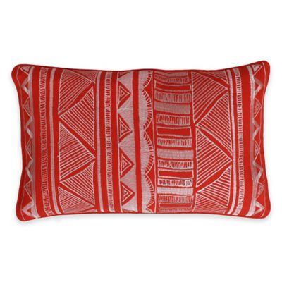 Thro Tracey Embroidered Tribal Sketch Oblong Throw Pillow in Red