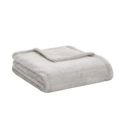 Intelligent Design Microlight Plush Throw Blanket in Grey