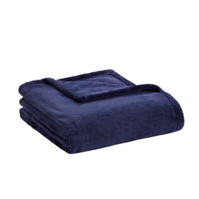 Intelligent Design Microlight Plush Throw Blanket in Navy