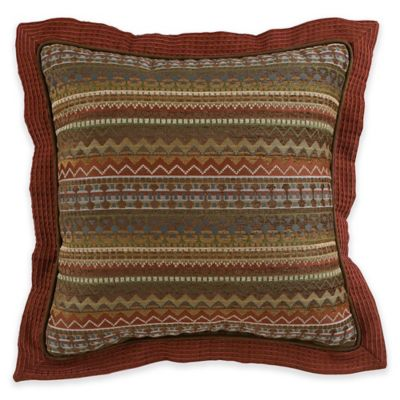 Croscill® Horizons Square Throw Pillow in Red/Brown