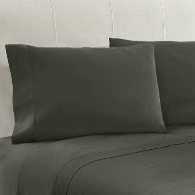 330-Thread-Count 100% Cotton Sateen Standard Pillowcases in Charcoal (Set of 2)