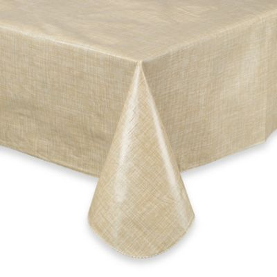 Monterey 60-Inch x 84-Inch Oval Vinyl Tablecloth in Natural