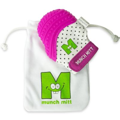 Munch Baby Munch Mitt Baby Teething Mitten in White/Purple