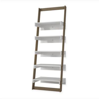 Manhattan Comfort Carpina Ladder Shelf in Oak/White
