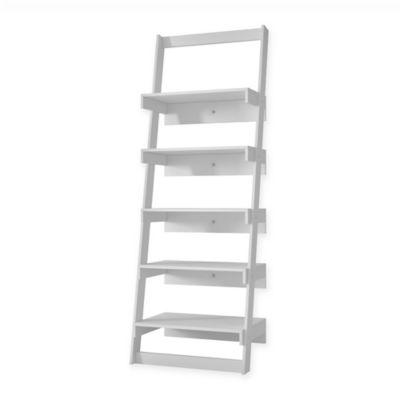 Manhattan Comfort Carpina Ladder Shelf in White