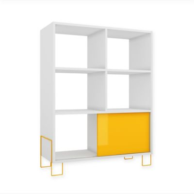 Manhattan Comfort Boden Mid-High Side Stand in Natural/White