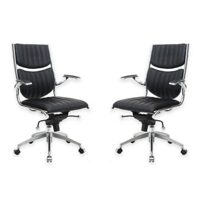 Manhattan Comfort Verdi Ergonomic High-Back Office Chairs in Black (Set of 2)