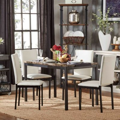 Verona Home Colby 5-Piece Faux Marble Dining Set in White